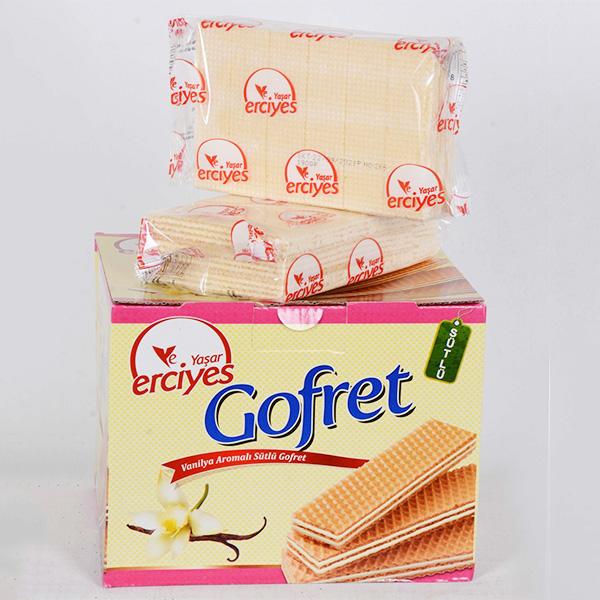 Yaşar Erciyes Vanilya Aromalı Sütlü Gofret - 1 Kutu - 200 Gr.lık 6 Paket, erciyes gofret, vanilyalı gofret,